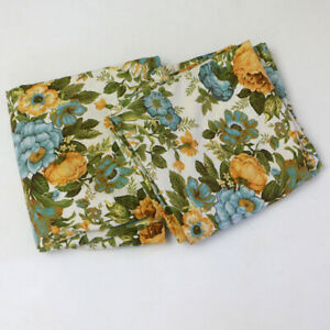 """Vintage Blue and Yellow Floral Curtains 2 Panels 43"""" x 84.5"""""""