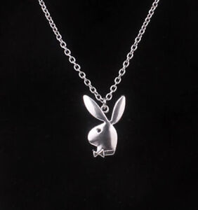 Silver Playboy Bunny On A Silver Chain Necklace!! Beautiful!!