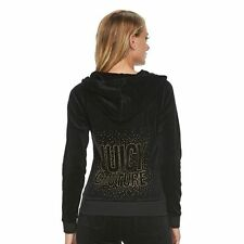 JUICY COUTURE Black Velour Gold Embellished Hoodie S NWT NEW FREE SHIP