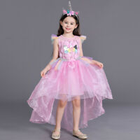 Unicorn Flower Girl Dress for Kid Birthday Party Princess Cosplay Fancy Costumes