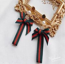 Fashion Accessories Green and red stripe ribbon pearl drop earrings