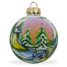 Two Blue Birds Glass Ball Christmas Ornament 3.25 Inches