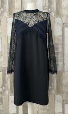 Zara Black Lace Long Sleeve Slip Cami Dress Size L