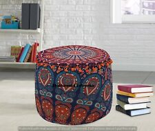 Round Ottomans Poufs Cover Indian Elephant Cotton Pouffe Sham Round Ottomans 22