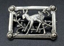 Vintage Sterling Silver 🦌  Deer Frame Brooch Pin Georg Jenson Style 20mm x 29mm