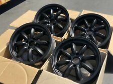 Used Set 16x7 Rota RB 4x114.3 +22 Black Rims Fits Datsun 510