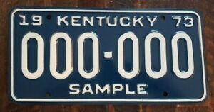 1973 KENTUCKY Sample License Plate # 000 - 000.