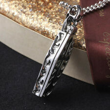 Gothic Men Coffin Skull Vampire Human Skeleton Chain Cross Necklace Pendant