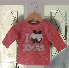 NEXT I Love Xmas Pudding Christmas Top Long Sleeve Unisex NB 0-1 Months BNWT