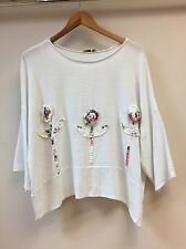 "LAGENLOOK LINEN BOXY *white* PRETTY SUMMER TOP-56"" BUST MADE IN ITALY 10-20UK"
