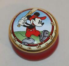 1996 Halcyon Days Enamel Trinket Box Disney You're A Hit Mickey Mouse Baseball