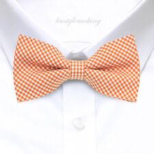 *Brand New* Orange&White Small Checked Hard-To-Find Tuxedo Boys Bow Tie B961