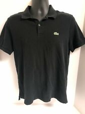Lacoste Men's Black S/S Polo Cotton Golf Shirt Size 5 MEDIUM Crocodile Logo