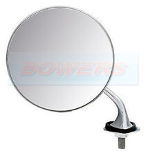 LEFT HAND LUCAS STYLE ADJUSTABLE CHROME ROUND EXTERIOR WING MIRROR CLASSIC CAR