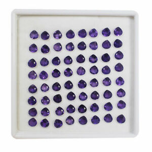 64 Pcs Natural Amethyst 6mm Pear Sparkling Purple Top Quality Loose Gemstones