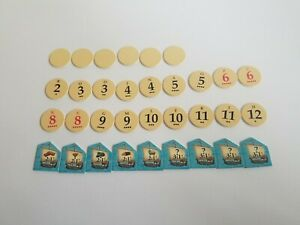 The Settlers Of Catan 3061 ~ Replacement Parts: Number Tokens & Harbor Pieces