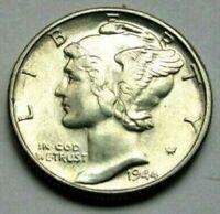 1944 P Mercury Dime Almost Uncirculated 90% Silver Coin AU / BU