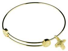 PRIMO Design donna bracciale bangle CROCE A204 ACCIAIO INOX RIVESTITO ORO GIALLO