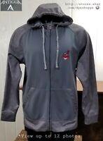 MLB Cleveland Indians Baseball Zip Up Gray Logo Hoodie Sweatshirt Antigua Sz L