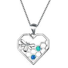 Fashion woman 925 Silver Hear Bee Blue Fire Opal Charm Pendant Necklace Chain ~~