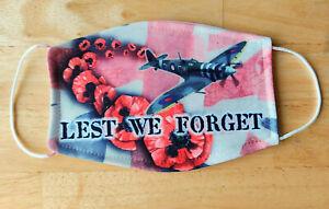 Face Mask Poppy Spitfire War Remembrance RAF VE Day Reusable Face Cover UK