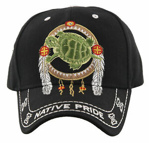 NEW! NATIVE PRIDE INDIAN AMERICAN FEATHERS TURTLE CAP HAT BLACK