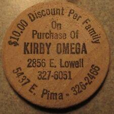 Vintage Kirby Omega Vacuum Cleaners Tucson, AZ Wooden Nickel - Token Arizona Ari