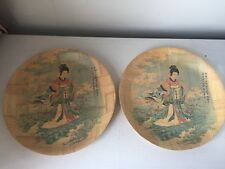 2 Vintage Chinese Bamboo Plates Goddess Of The Lo River