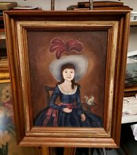 Excellent Vintage Naive Folk Art Painting Oil on Canvas Signed Framed