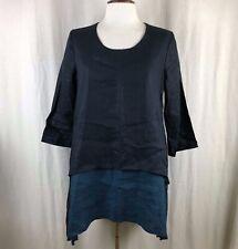 Et Lois Black & Blue Linen Artsy Lagenlook Dress Small