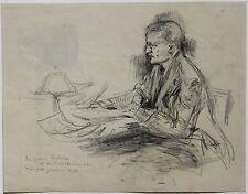 MICHELINE RESCO DESSIN PORTRAIT GENERAL PERSHING ECRIVANT NEW-YORK JANVIER 1923