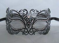 Black Filigree Silver Eyes Metal Masquerade Mask No 18 - Express Post Available