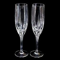2 (Two) NORITAKE MADISON AVENUE Cut Lead Crystal Champagne Flutes DISCONTINUED