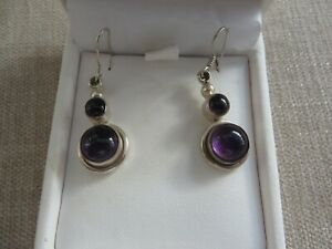 Quality Art Nouveau style real silver drop earrings amethyst detail boxed