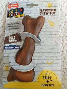 Nylabone Ruffer & Tuffer Dog Chew Toy. Natural Rubber. Beef Flavour. Medium. New