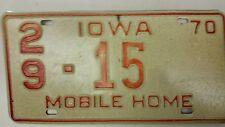 1970 IOWA Des Moines County Mobile Home License Plate 29-15