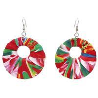 Boucles D'oreilles femme coton ethnique Anneau ruban multicolore rouge DONUT