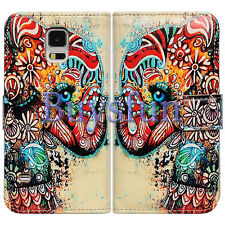 Tribal Floral Elephant Wallet Leather Cover Case For Samsung Galaxy S5