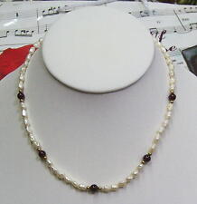 Single Strand Fresh Water Pearls With 6mm Garnet &14k GF Beads Necklace. FWGN010