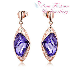 18K Rose Gold GP Made With Swarovski Crystal Galactic Cut Fancy Purple Earrings