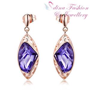 18K Rose Gold GP Made With Swarovski Crystal Galactic Cut Fancy Purple Earrings