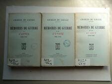MEMOIRES DE GUERRE CHARLES DE GAULLE 3 TOMES DE 1940 A 1946 CHEZ PLON