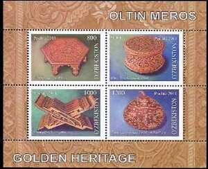 2011. Uzbekistan. Golden Heritage. Wood engraving. MNH. S/sheet. Sc.650