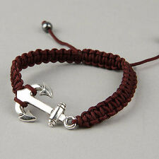 Silver Plated Ship Anchor Bracelet Shamballa Rope Adjustable Nautical Beach USA