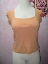 WILLI SMITH Light Orange Short Sleeve Square Neck Stretchy Knit Shirt  M