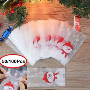 25/100Pcs Christmas Bag Santa Claus Snowman Cellophane Gift Cookie Fudge Candy