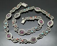 """TAXCO MEXICO VTG CORAL TURQUOISE AMETHYST STERLING SILVER PANEL NECKLACE 20"""""""