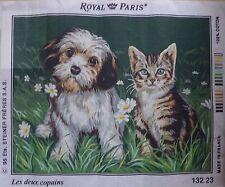 § A- grand canevas ROYAL PARIS : LES DEUX COPAINS chiot et chat 45 x 60 cm