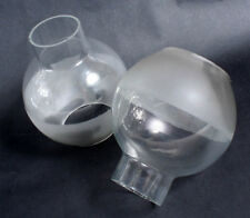 Hurricane Lamp Shade, Set of 2//Frosted Glass Globe//Light Fixture Glass
