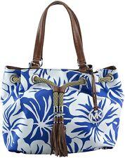 Michael Kors Marina Large Canvas Gathered Tote Handbag Electric Blue Silver $278
